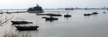 Nordkorea, Wonsan, Meer, Boote